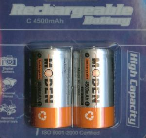 C Rechargeable Ni-MH 1.2v Batteries 4500 mAh (1.5v)- 2 Pack